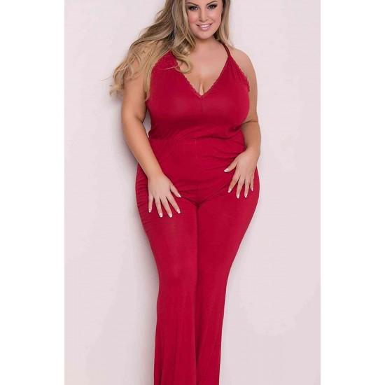 Merry See Büyük Beden Kırmızı Pijama Tulum MS4033P
