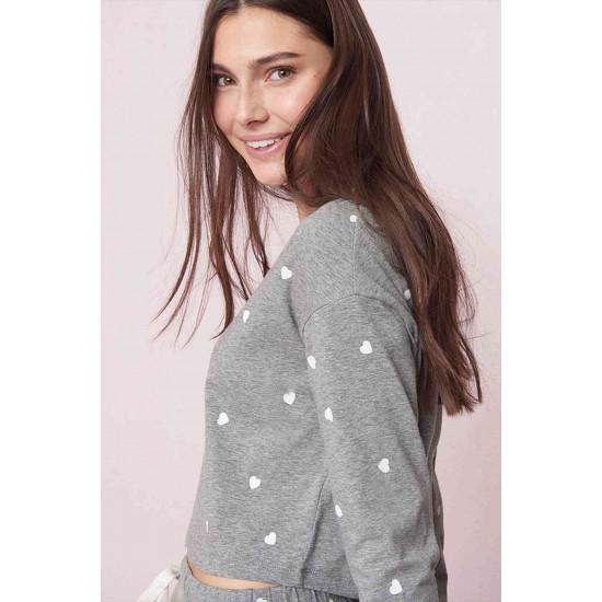 Merry See Kalpli Pijama Takım Gri MS4039-Gri