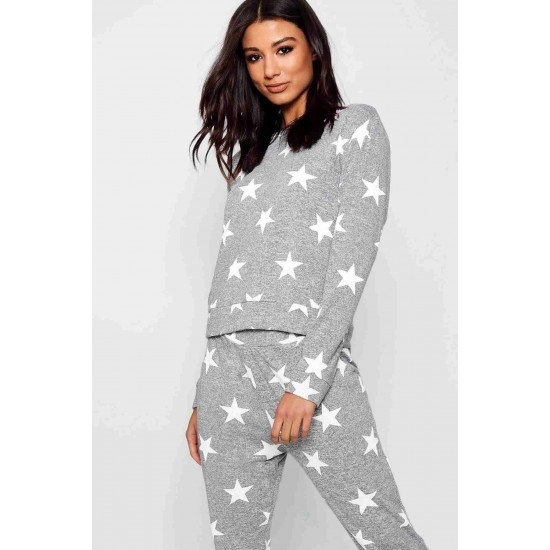 Merry See Penye Yıldızlı Pijama Üst Çok Renkli MS40568-ÇokRenkli