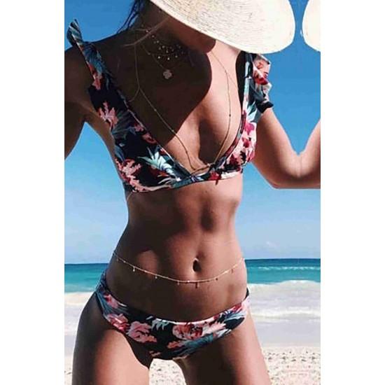 Angelsin Desenli Bikini Alt Çok Renkli MS41049-ÇokRenkli