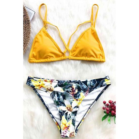Angelsin Baskılı Üstü Sarı Bikini Takım Çok Renkli MS4105-ÇokRenkli