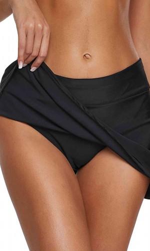 Angelsin Şık Etekli Bütün Bikini Alt Siyah MS4119-Siyah
