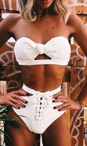 Angelsin Özel Tasarım Bikini Takım Beyaz MS4126-Beyaz
