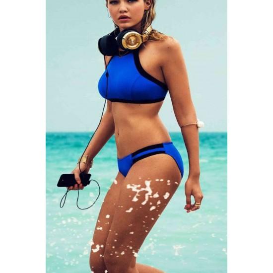 Angelsin Mavi Şık Tankini Bikini Üst MS41734