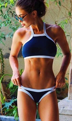Angelsin Lacivert Özel Tasarım Tankini Bikini MS417361
