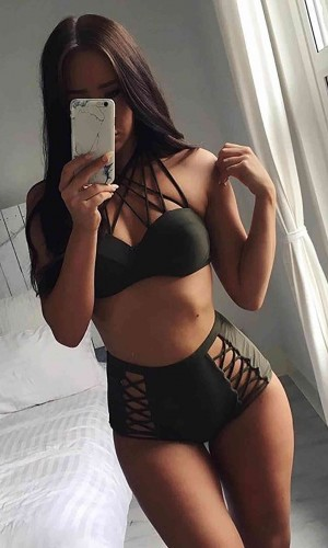 Angelsin Haki Yeşil Yüksek Bel Bikini Takım MS419102