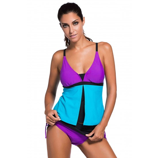 Angelsin Şık Renkli Tankini Etekli Bikini Takım MS419652
