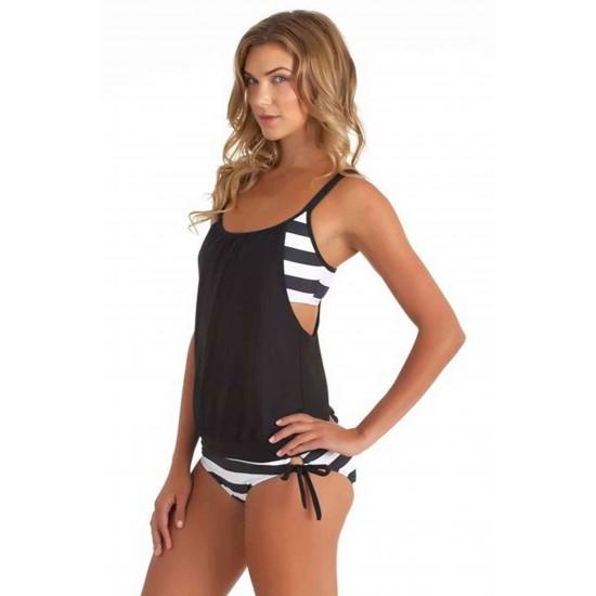 Angelsin Siyah Beyaz Kalın Cizgili Tankini Bikini Takım MS41990
