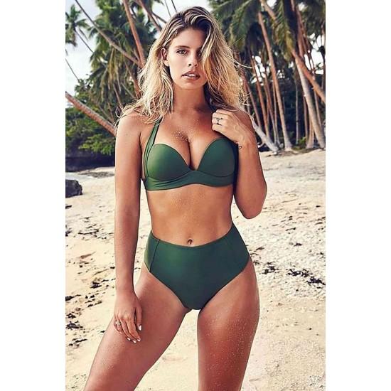 Angelsin Yeşil Yüksek Bel Bikini Takım MS4203