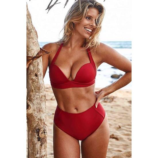 Angelsin Kırmızı Yuksek Bel Bikini Takım MS4205