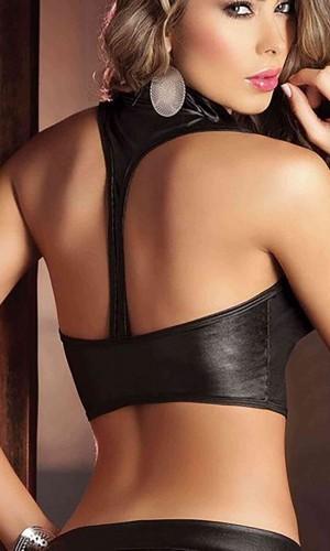 Merry See Siyah Deri Görünümlü Bolero Büstiyer MS4207