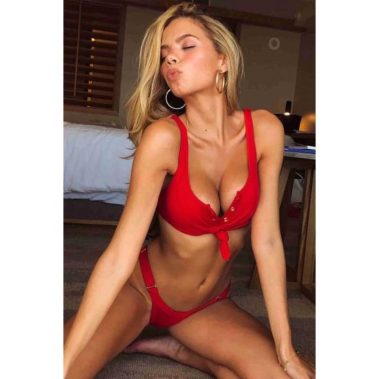 Angelsin Kırmızı Şık Bikini Alt MS42139-Kırmızı