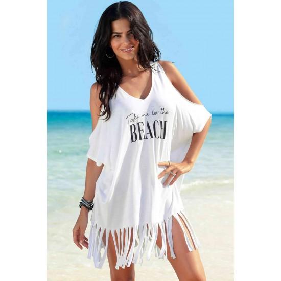 Angelsin Beyaz Beach Baskılı Pareo MS42226
