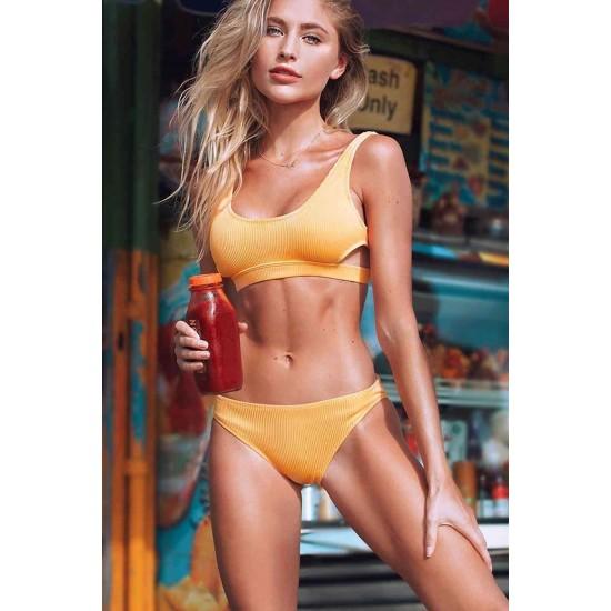 Angelsin Özel Kumaş Şık Bikini Takım Sarı MS4291-Sarı