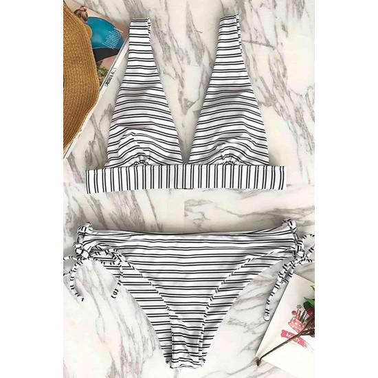Angelsin Çizgili Bikini Takım Çok Renkli