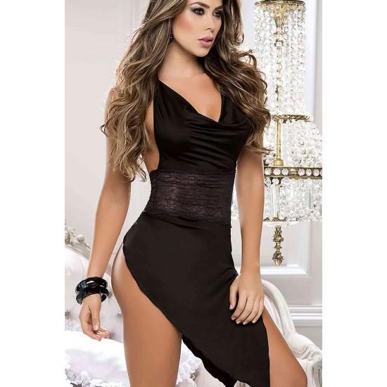 Merry See Siyah Arkadan Açık Fantazi Giyim MS5134-1
