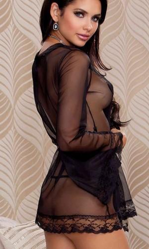 Merry See Siyah Kolları Dantel Sabahlık Gecelik MS5467