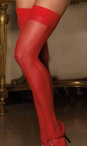 Merry See Kırmızı Dantelsiz Jartiyer Çorabı MS5555-3