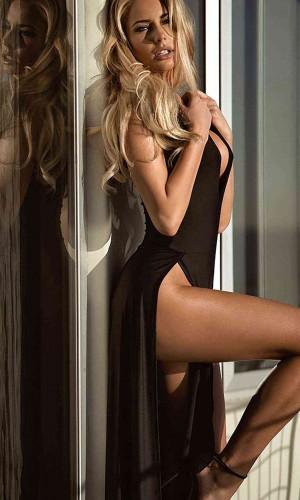 Merry See Seksi Elbise Uzun Yırtmaçlı Gecelik MS6213