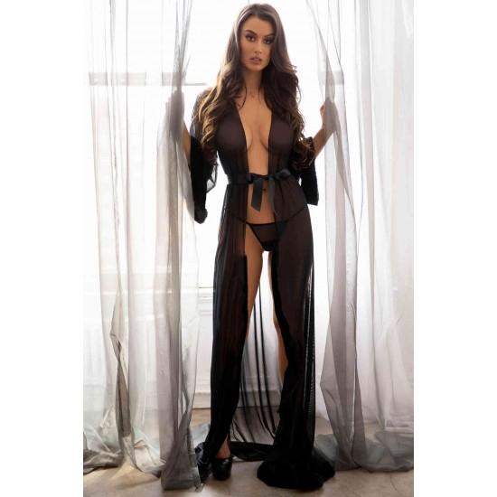 Merry See Uzun Tül Sabahlık Gecelik İç Giyim Siyah MS6367-Siyah