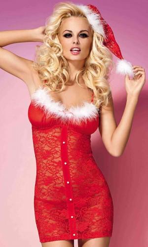 Merry See Kırmızı Yılbaşı Kostümü Babydoll MS7215
