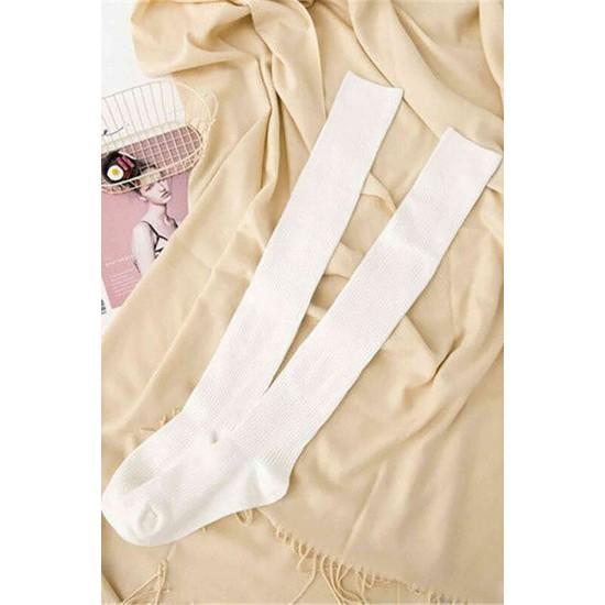 Parfümlü Örgü Diz Üstü Çorap Beyaz