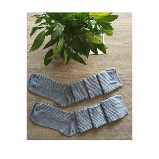 Parfümlü Örgü Diz Üstü Çorap Gri