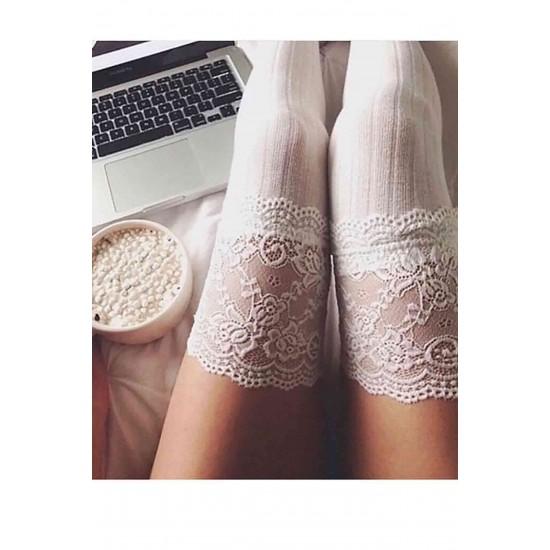 Merry See Parfümlü Dantelli Örgü Diz Üstü Jartiyer Çorap Beyaz MS7802-Beyaz