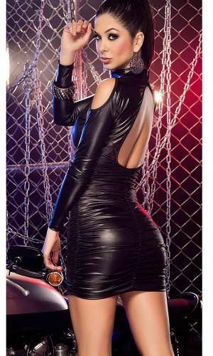 Merry See Seksi Deri Elbise MS9312