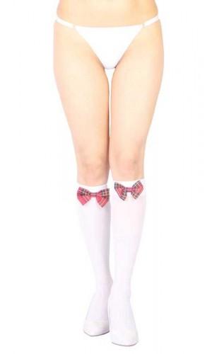 Beyaz Diz Altı Kırmızı Ekose Kurdeleli Çorap Ve G String Seti