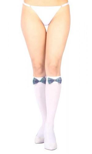 Beyaz Diz Altı Mavi Ekose Kurdeleli Fantazi Çorap Ve G String Seti