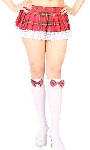 Vixson Liseli Kırmızı Ekoseli Mini Etek Ve Diz Altı Seksi Çorap Takımı VN-1057